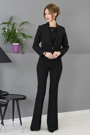 ÖNDER ÖZSOY Yakalı Mini Ceket Ispanyolpaça Takım - Siyah