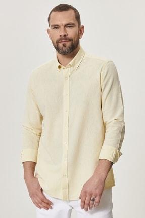 AC&Co / Altınyıldız Classics Erkek Sarı Tailored Slim Fit Dar Kesim Düğmeli Yaka Keten Gömlek