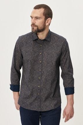 AC&Co / Altınyıldız Classics Erkek Haki Tailored Slim Fit Dar Kesim Düğmeli Yaka Baskılı Gömlek