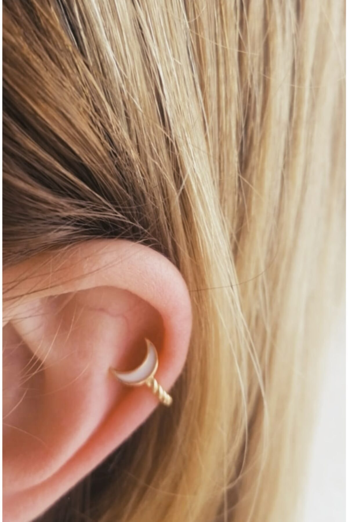 NORRSKEN Kadın Gold Moon Ear Cuff Küpe 2