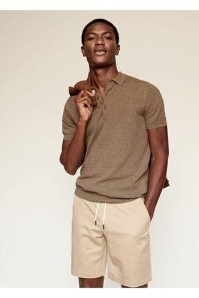 MANGO Man Erkek Bakır  Pamuk Keten Karışımlı Polo Gömlek