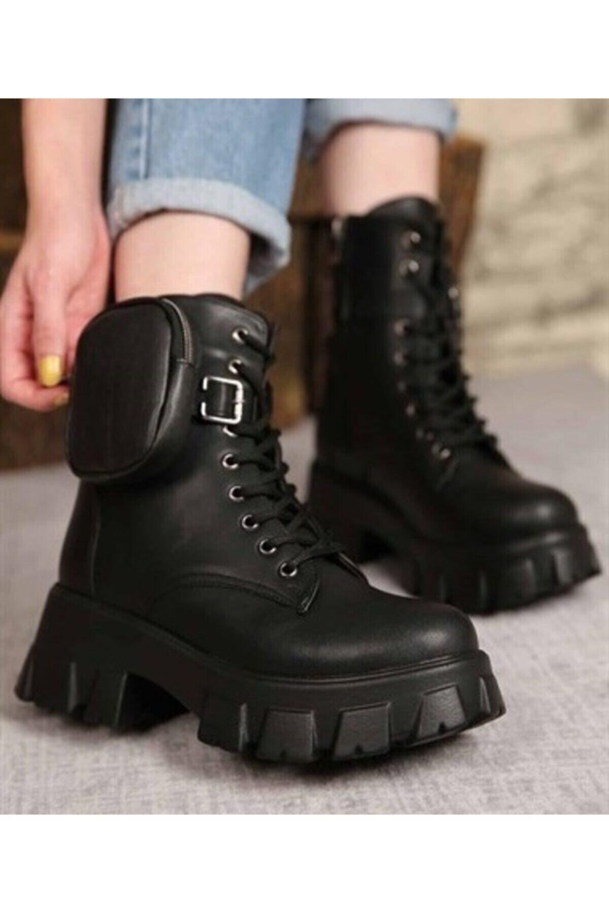 Öncerler Ayakkabı Kadın Siyah Cüzdanlı Bot 1
