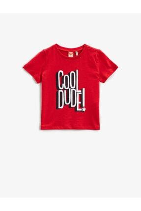 Koton Erkek Çocuk Kırmızı Sloganlı Kısa Kollu Pamuklu Tisört