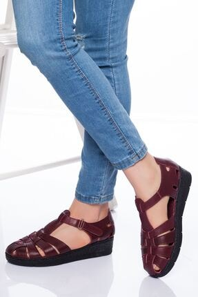 derithy Kadın Bordo Hakiki Deri Sandalet