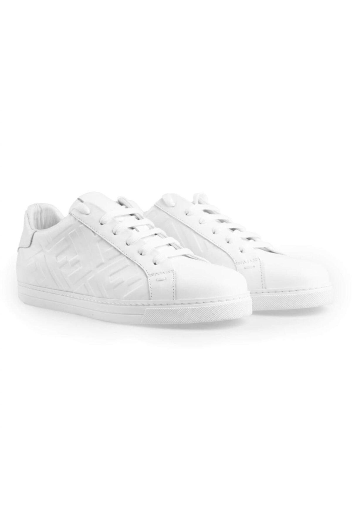 Flower Erkek Beyaz Deri Baskılı  Sneakers 2