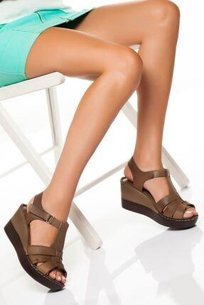 derithy Kadın Vizon Hakiki Deri Dolgu Topuklu Ayakkabı