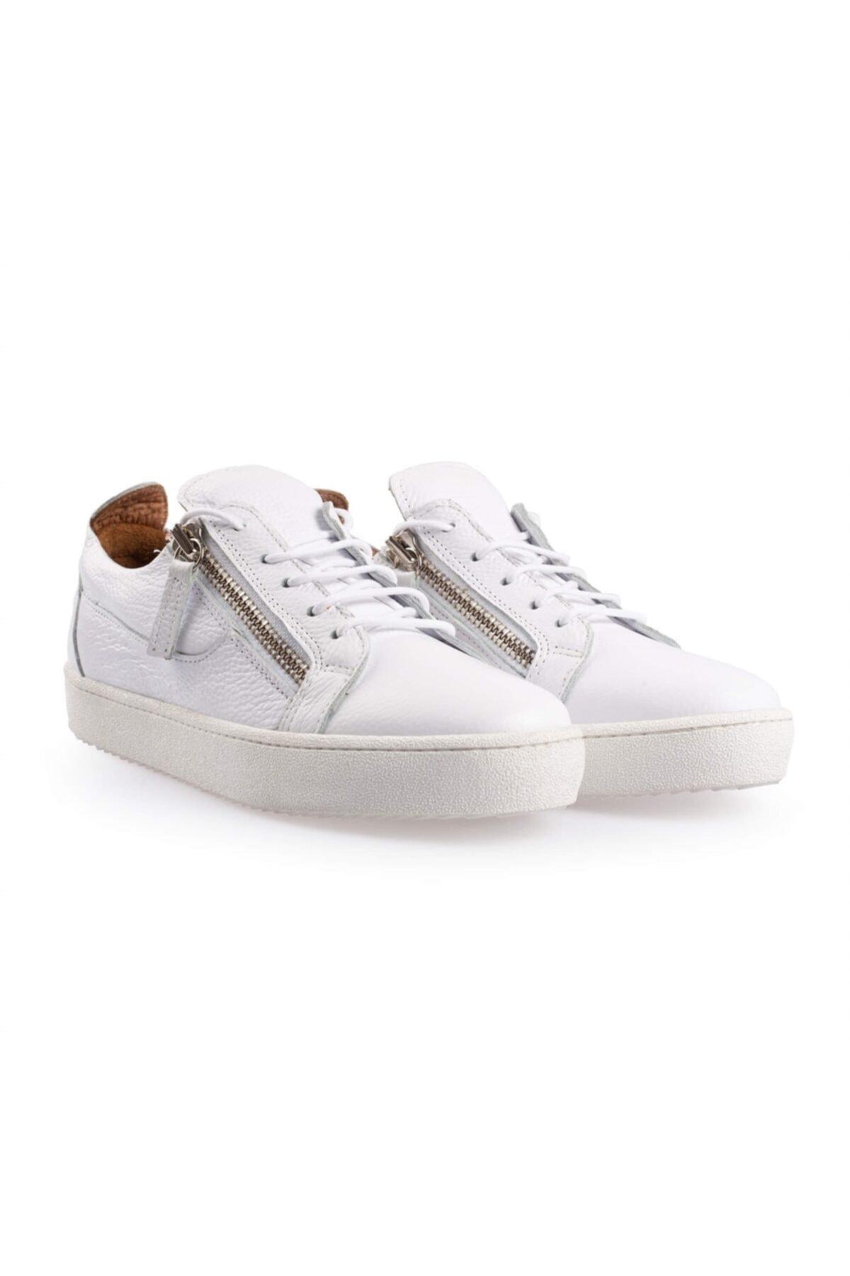 Flower Erkek Beyaz Deri Fermuar Detaylı  Sneakers 2