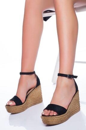 derithy Kadın Siyah Süet Dolgu Topuklu Ayakkabı