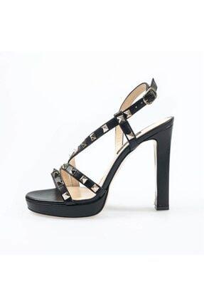 Flower Siyah Deri Troklu Topuklu Sandalet