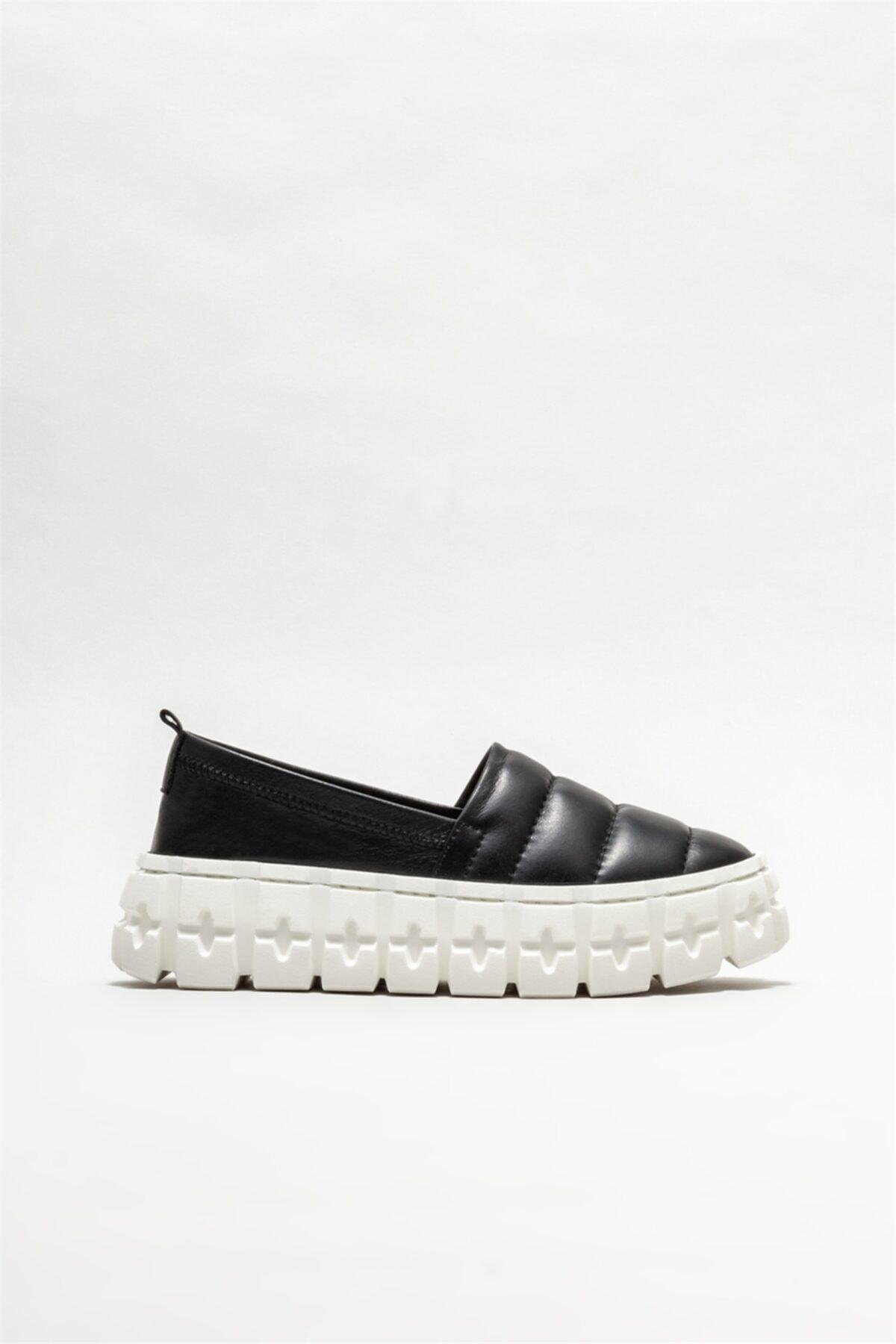 Elle Shoes Kadın Siyah Deri Sneaker 1