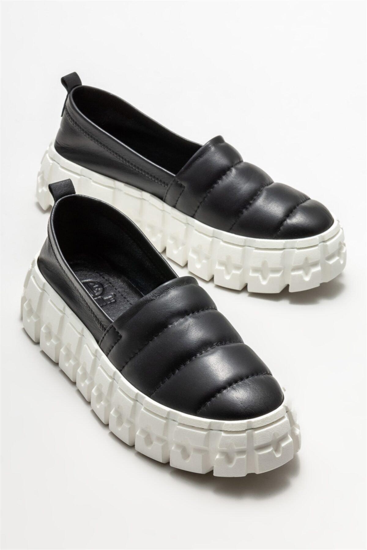 Elle Shoes Kadın Siyah Deri Sneaker 2