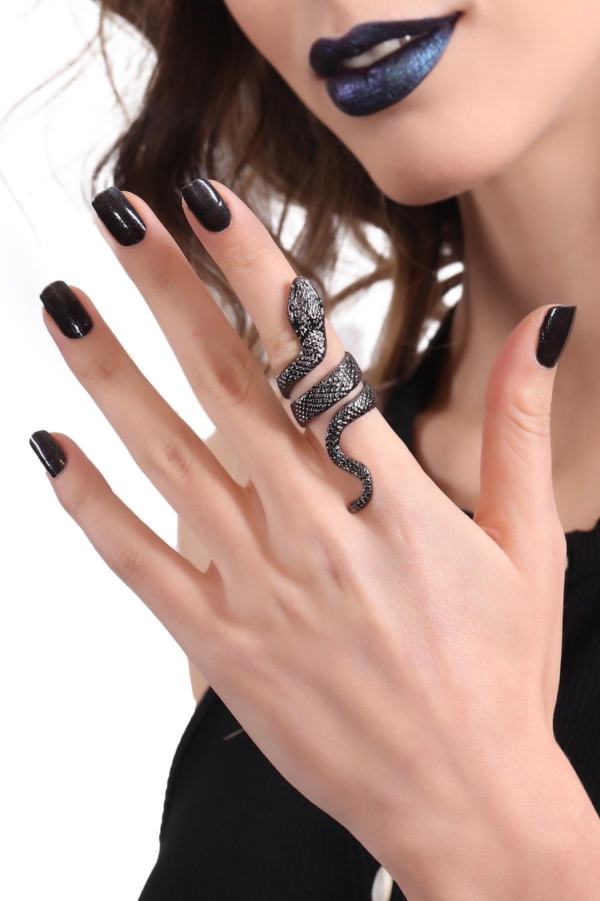 LABALABA Kadın Metalik Antrasit Lak Kaplama Dolama Model Yılan Formlu Ayarlanabilir Sağ Parmak Yüzük 2