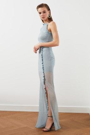 TRENDYOLMİLLA Mavi  Fırfırlı  Abiye & Mezuniyet Elbisesi TPRSS20EL2357