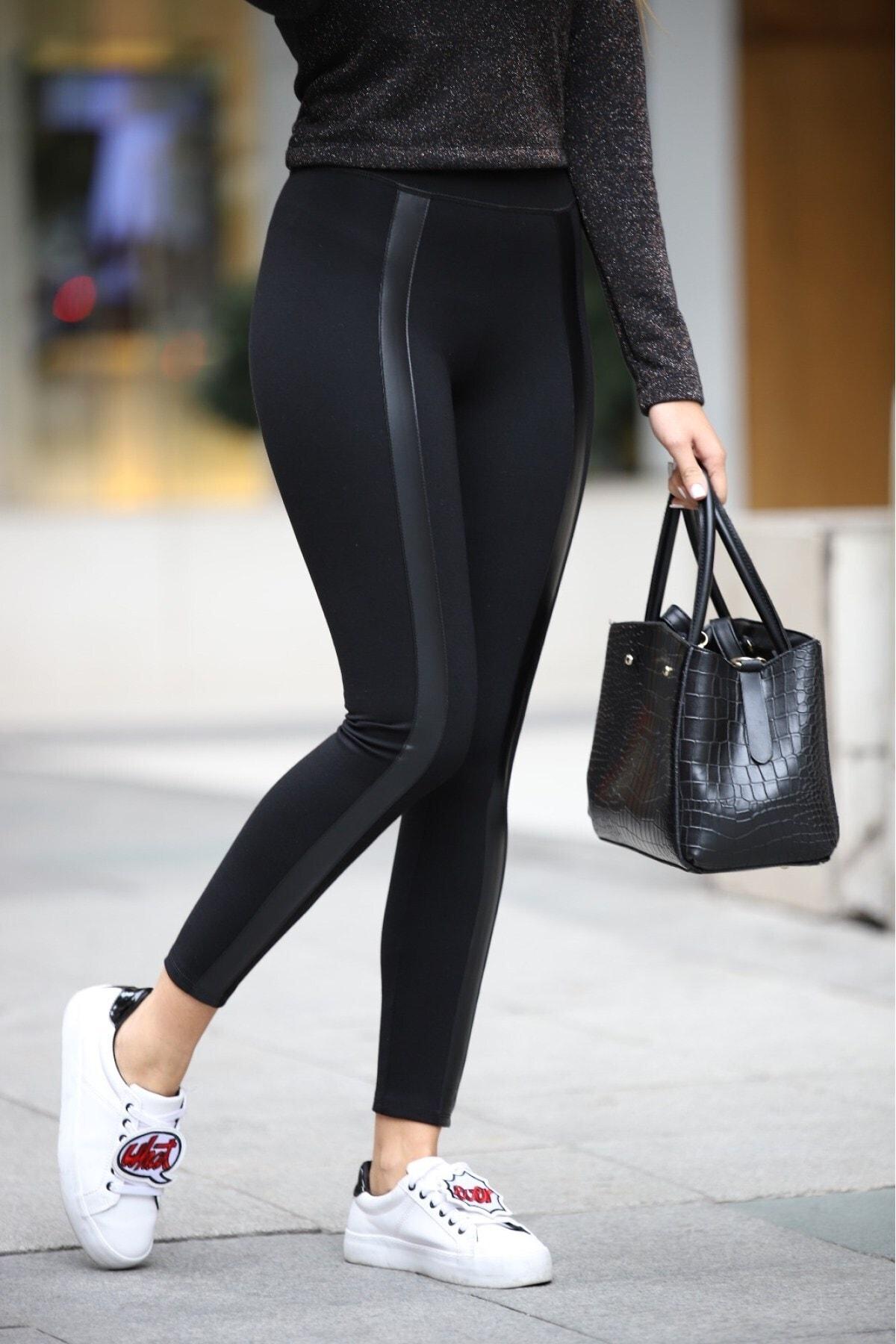 Grenj Fashion Siyah Önü Deri Şeritli Yüksek Bel Toparlayıcı Tayt 1