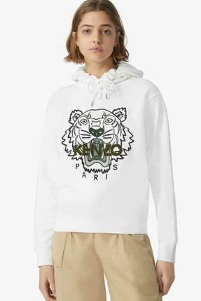 Kenzo Kadın Kaplan Logolu Kapüşonlu Sweatshirt