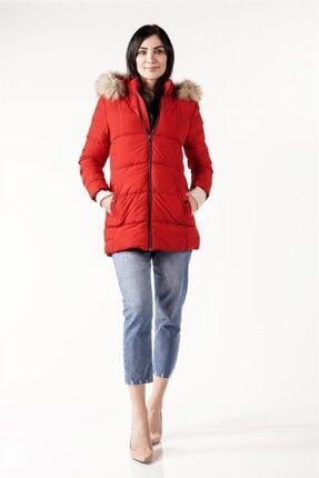 PIQUE Kadın Kırmızı Kürk Detaylı Uzun Şişme Mont