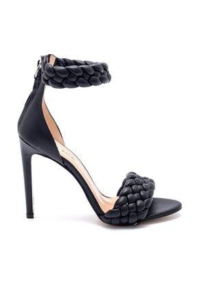 Sofia Baldi Kadın  Siyah Deri Topuklu Sandalet