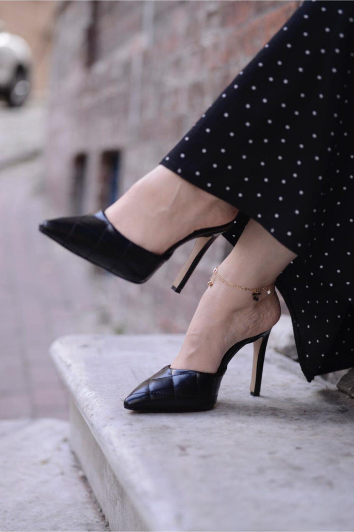 Malina Ayakkabı Çanta Kadın Siyah Sivri Kapalı Burun Topuklu Terlik 1