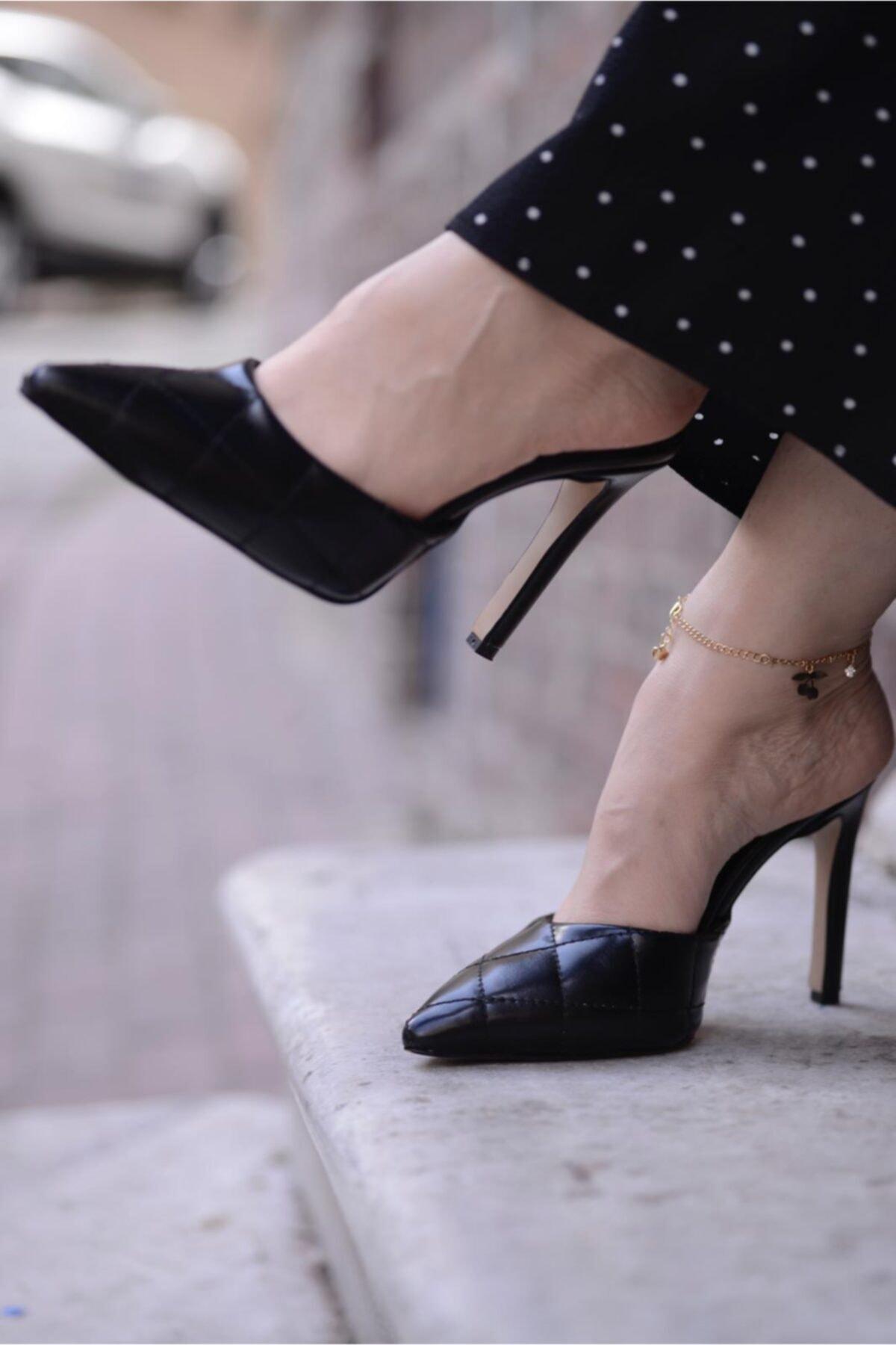 Malina Ayakkabı Çanta Kadın Siyah Sivri Kapalı Burun Topuklu Terlik 2