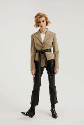 113 STUDIO Kadın Deri Kemerli Ceket