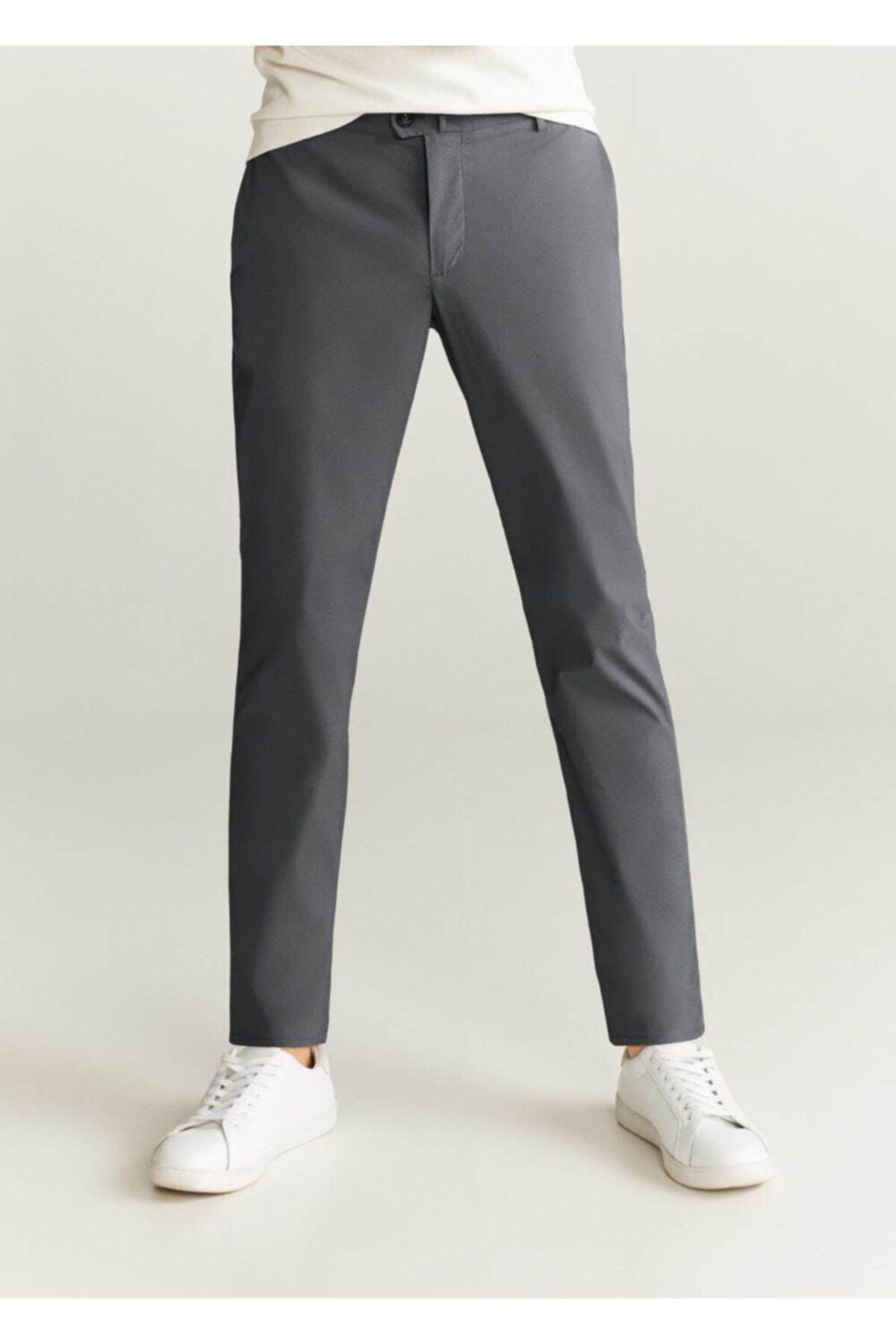 MANGO Man Erkek Gri Düz Kesimli Tebeşir Çizgili Pantolon  77002878 1