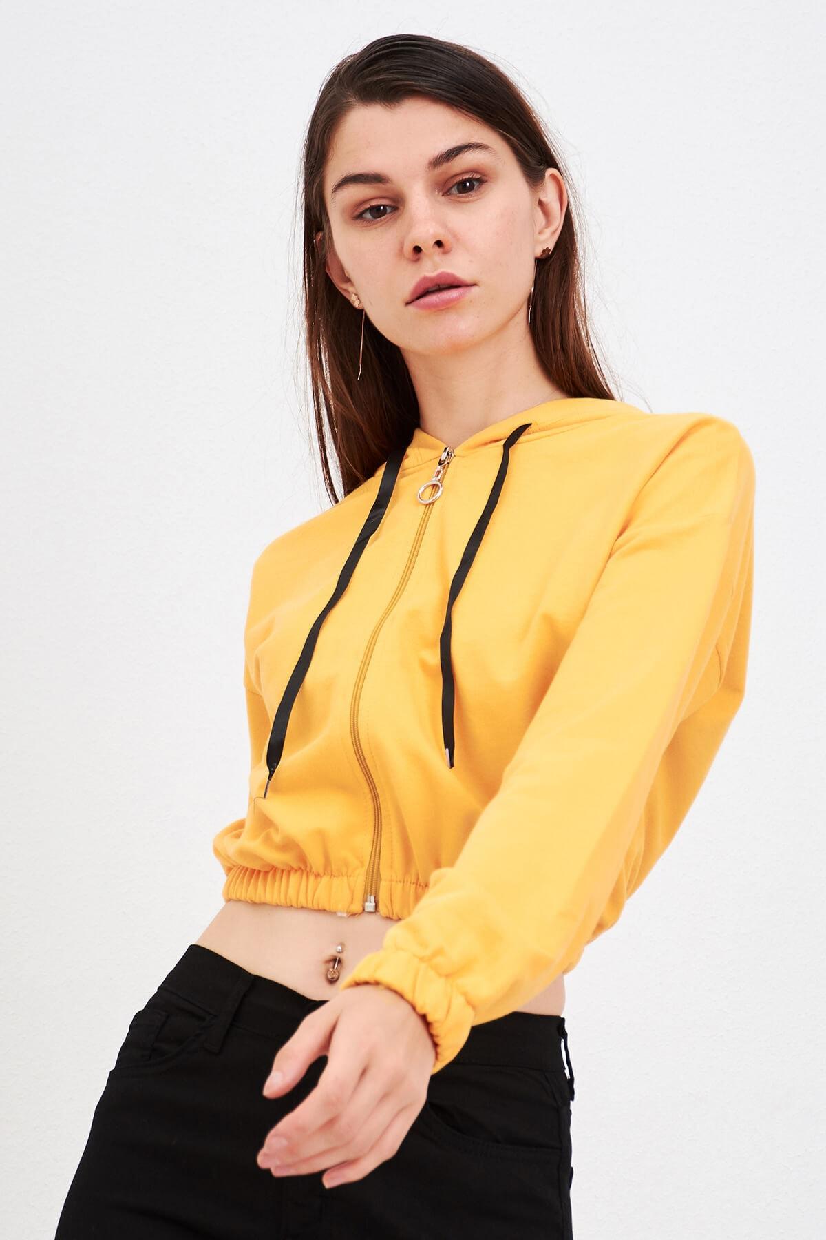 Mossta Kadın Hardal Fermuarlı Kapüşonlu Sweatshirt 1