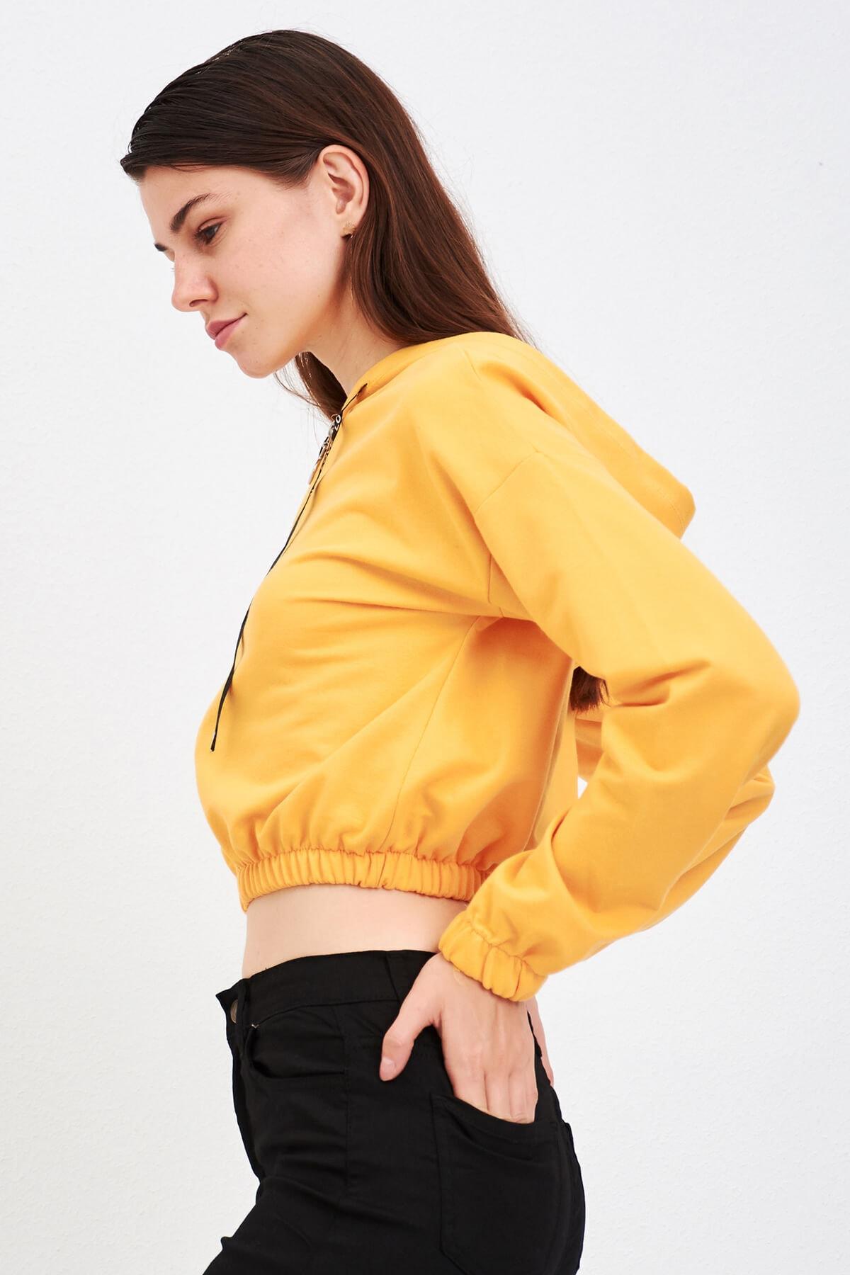 Mossta Kadın Hardal Fermuarlı Kapüşonlu Sweatshirt 2