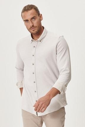 AC&Co / Altınyıldız Classics Erkek Bej Tailored Slim Fit Dar Kesim %100 Koton Düğmeli Yaka Gömlek