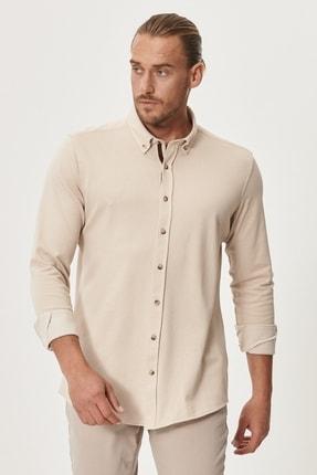 AC&Co / Altınyıldız Classics Erkek Bej 360 Derece Her Yöne Esneyen Tailored Slim Fit Düğmeli Yaka Gömlek