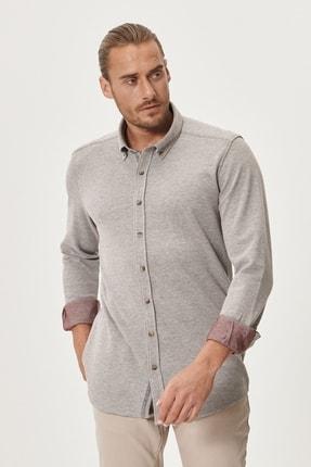 AC&Co / Altınyıldız Classics Erkek Bordo 360 Derece Her Yöne Esneyen Tailored Slim Fit Düğmeli Yaka Gömlek