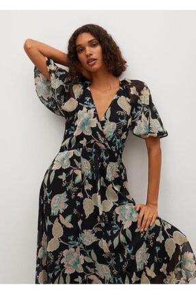 MANGO Woman Kadın Siyah Çiçek Desenli Elbise