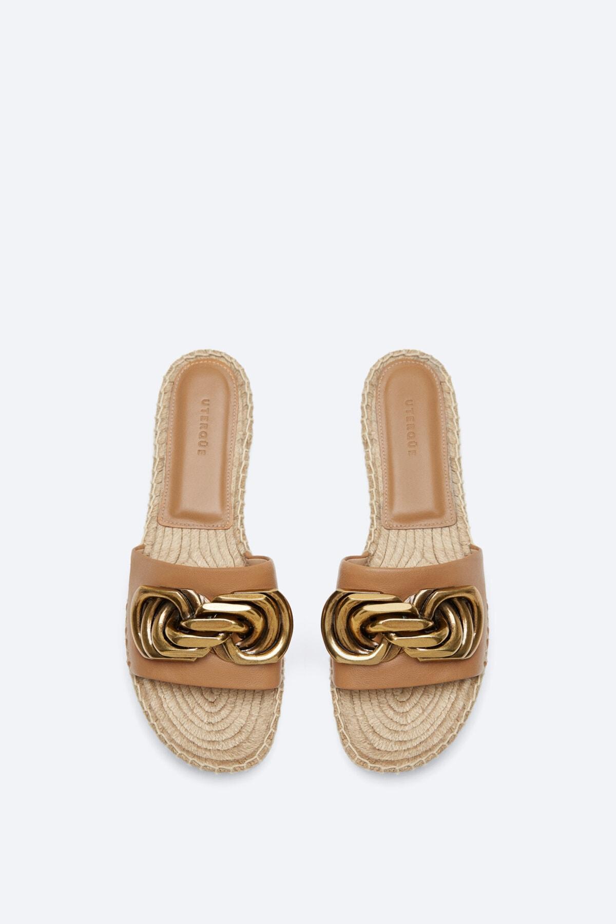 Uterqüe Kadın Deve Tüyü Süslü Deri Ve Jüt Sandalet 17609780