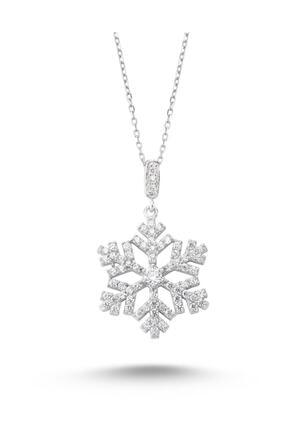 Silver&Silver Kadın 925 Ayar Gümüş Beyaz Swarovski Taşlı Kar Tanesi Kolye Krtnskly2011-10