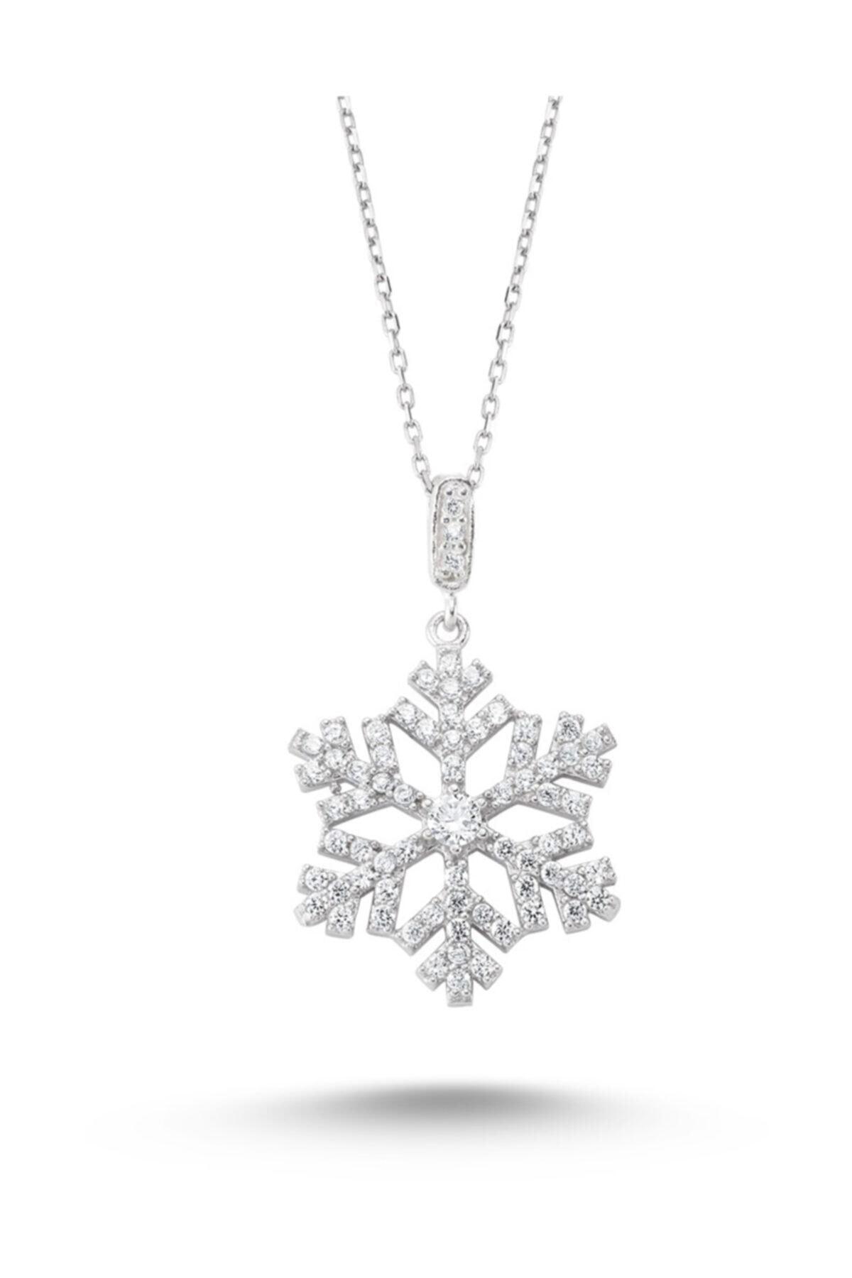 Silver&Silver Kadın 925 Ayar Gümüş Beyaz Swarovski Taşlı Kar Tanesi Kolye Krtnskly2011-10 1