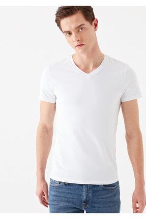 Mavi V Yaka Streç Beyaz Basic Tişört