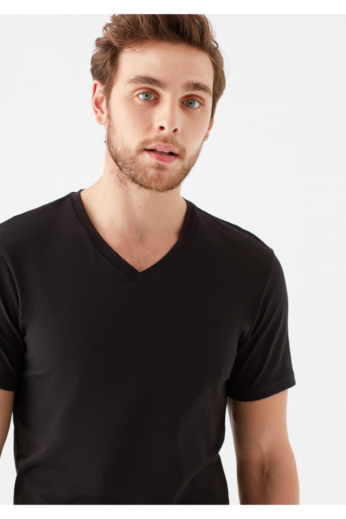 Mavi V Yaka Streç Siyah Basic Tişört 2