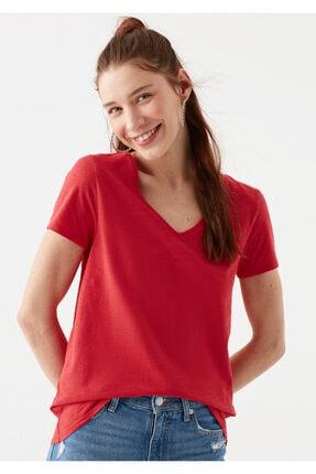 Mavi V Yaka Kırmızı Basic Tişört