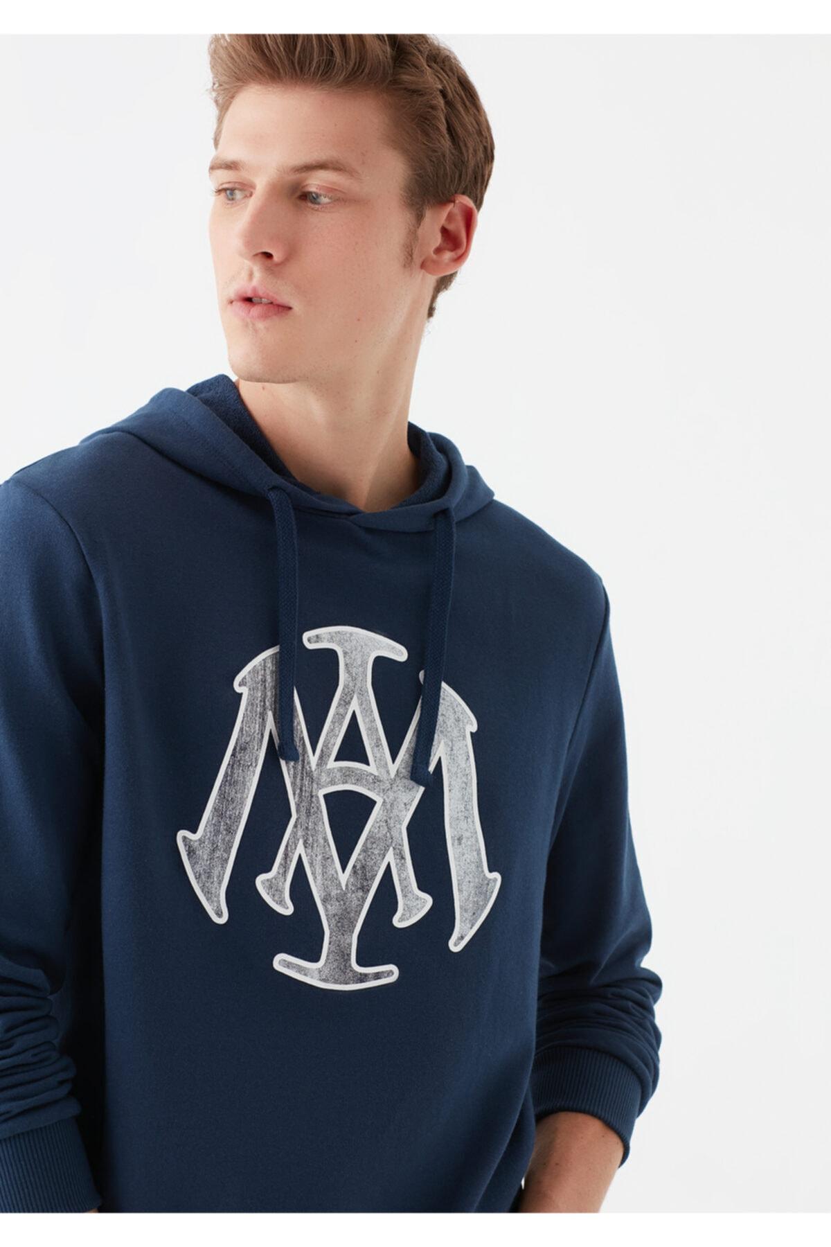Mavi Mühür Logo Baskılı Lacivert Sweatshirt 2