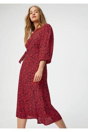 Mavi Kadın Kırmızı Leopar Baskılı Elbise