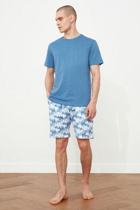 TRENDYOL MAN Mavi Palmiye Baskılı  Pijama Takımı THMSS21PT0331