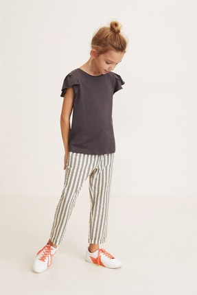 MANGO Kids Kız Çocuk Gri Pantolon 43043702