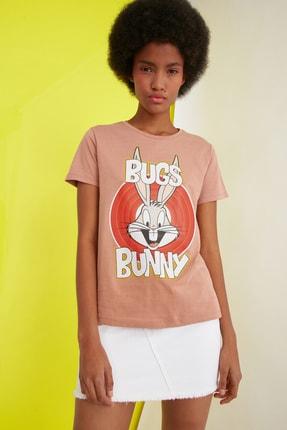 TRENDYOLMİLLA Turuncu Örme T-Shirt TWOSS21TS0565