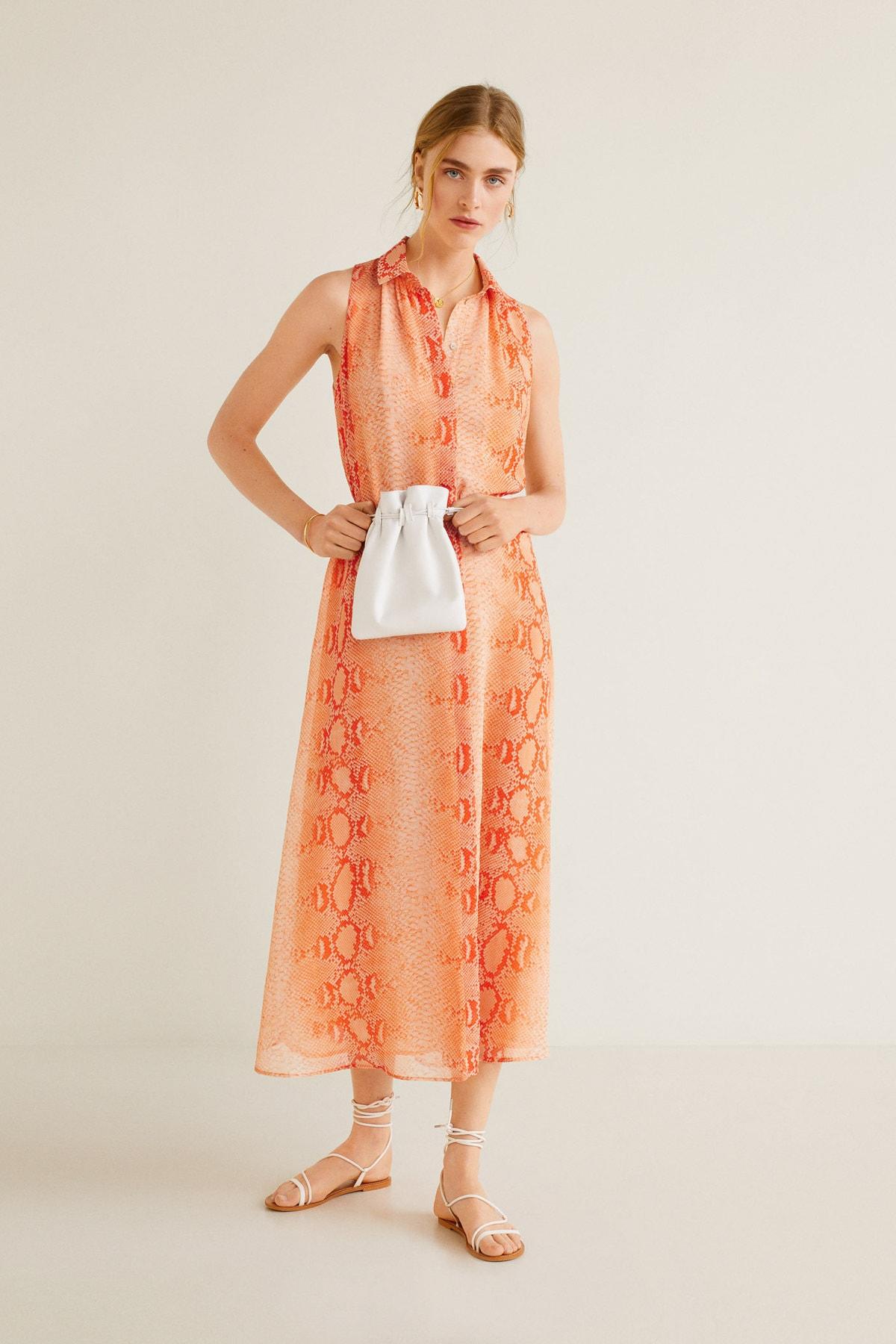 MANGO Woman Kadın Parlak Turuncu Elbise 41037807 1