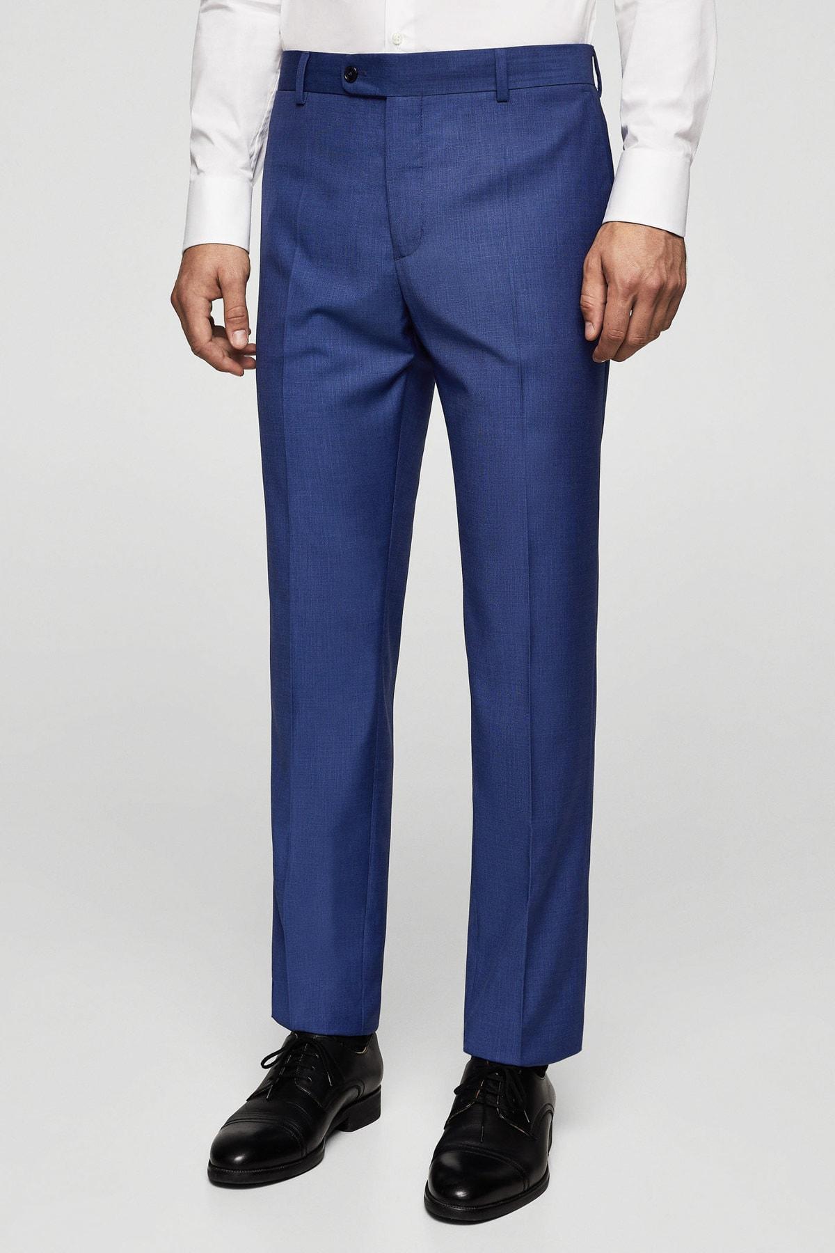 MANGO Man Erkek Prusya Mavisi Pantolon 23030906 2