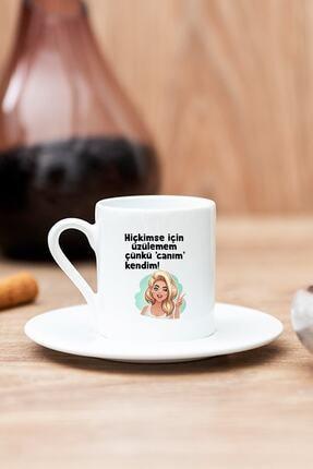 Hediyedukkani Beyaz Canım Kendim Baskılı Türk Kahvesi Fincanı