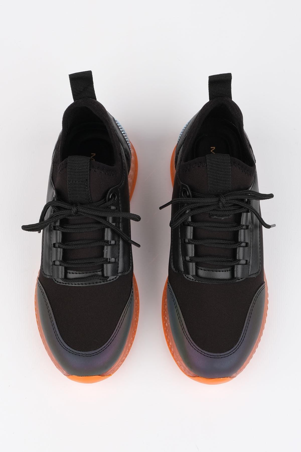 Marjin Kadın Siyah Streç Sneaker Spor Ayakkabı Cunka 1
