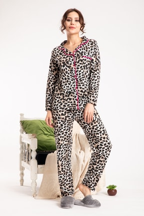 TAMPAP Kadın Pijama Takımı Uzun Kollu Viskon Pijama