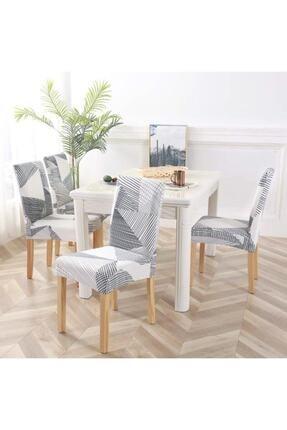 Avral Home Gri Desenli Likralı Lastikli Sandalye Kılıfı 6 Adet