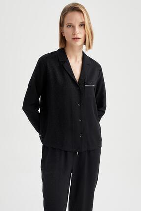 DeFacto Gömlek Yaka Cep Detaylı Pijama Üstü