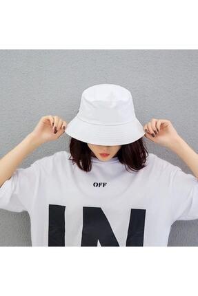 Köstebek Son Moda Düz Beyaz Kova Şapka Balıkçı Şapka Bucket Hat